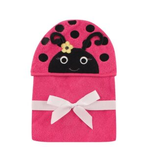 Luvable Friends Animal Hooded Towel Embroidery - Magenta Ladybug-0