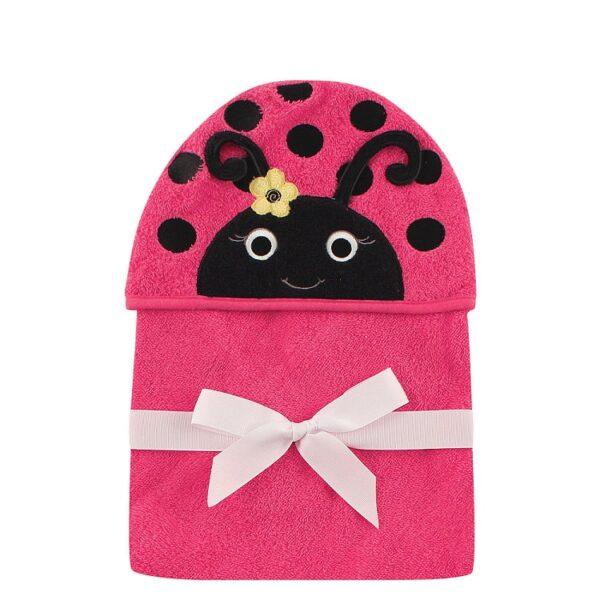 Luvable Friends Animal Hooded Towel Embroidery - Magenta Ladybug-0
