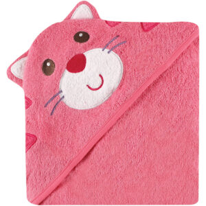 Luvable Friends Hooded Towel with Embroidery - Cat-0