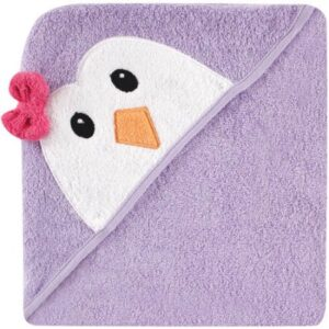Luvable Friends Hooded Towel with Embroidery - Purple Penguin-0