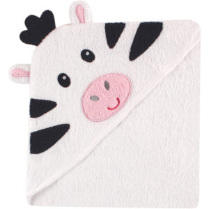 Luvable Friends Hooded Towel with Embroidery - White Zebra-0