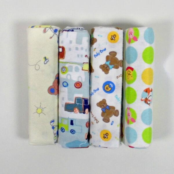 Cotton Multi Purpose Receiving Sheets - Set Of 4-0