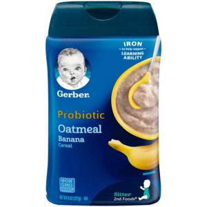 Gerber Probiotic Oatmeal & Banana Baby Cereal - 227gm NON GMO-0