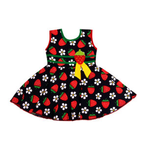 Cotton Frock Blue Strawberry Print-0
