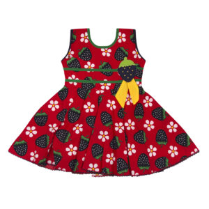 Cotton Frock Red Strawberry Print-0