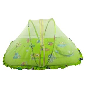 Center Zip Mosquito Net With Mattress & Pillow - Green-0