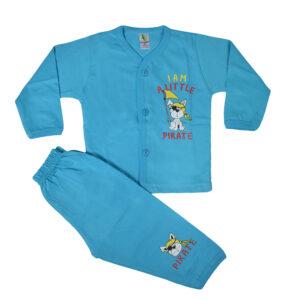 Cucumber Full Sleeves Set - Vest & Pant - Sky Blue-0