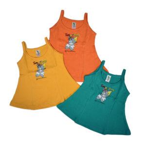 Tom & Jerry Print Cucumber Girls Vest Pack Of 3 - Multi color-0