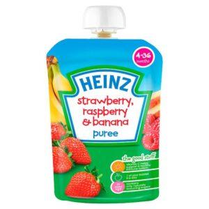 Heinz Strawberry, Raspberry & Banana Puree (4-36m) - 100G-0