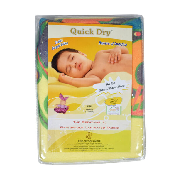 Quick Dry Printed Waterproof Bed Protector Sheet - Yellow - Small-20237