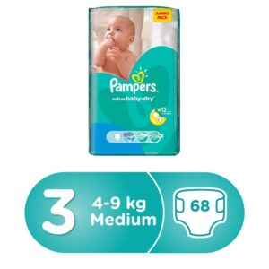 Pampers Active Baby Dry Diapers, 4-9kg, Value Pack - Size 3, 68 Count (Dubai)-0