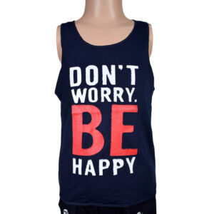 Be Happy Quotes Kids Trendy Vest - Navy Blue-0