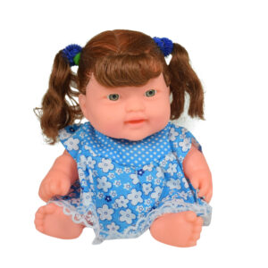 Baby Show-peace & Playing Doll, Brown Hairs - Blue-0