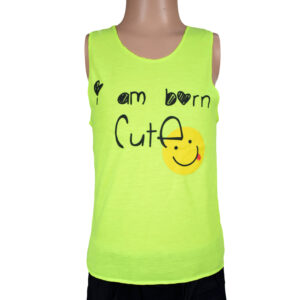 Born Cute Quotes Kids Trendy Vest - Shinny Green-0