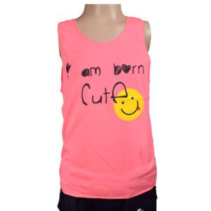 "I""m Born Cute Quotes Kids Trendy Vest - Pink-0"