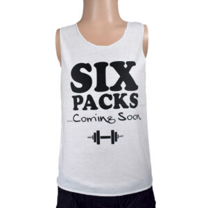 Six Packs Coming Soon Quotes Kids Trendy Vest - White-0