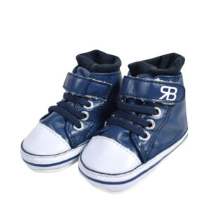Baby Soft Canvas Long Shoes/Booties - Navy Blue-0