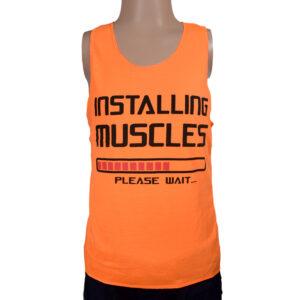 Installing Muscles Quotes Kids Trendy Vest - Orange-0