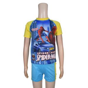Kids Boy Swimming Dress Set Spider Man - Yellow/Blue-0