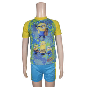 Kids Boy Swimming Dress Set Minnion Print - Yellow/Blue-0