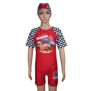 Kids Boy Swimming Dress With Cap - Red-0