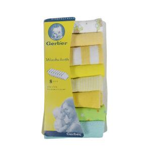 Gerber Hosiery Cotton Washcloth /Napkin 8 pack (Yellow Shade)-0