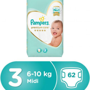 Pampers Premium Care Diapers, Size 3, Value Pack - 5-9 kg, 62 pcs-0