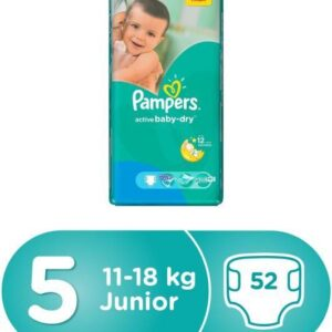 Pampers Active Baby Dry Diapers, Size 5, Jumbo Pack - 11-18 kg, 52 Count (Dubai)-0