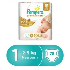 Pampers Premium Care Diapers, Size 1, Value Pack - 2-5 kg, 78 Count-0