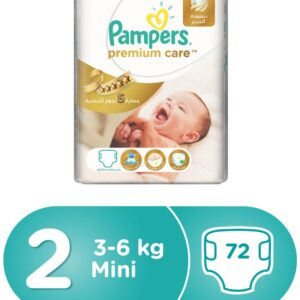 Pampers Premium Care Diapers, Size 2, Value Pack - 3-6 kg, 72 Count-0