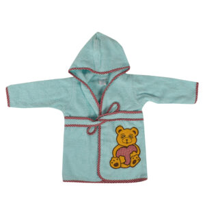 Pooh Print Hooded Bathrobe - Aqua-0