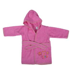 Pooh Print Hooded Bathrobe - Pink-0