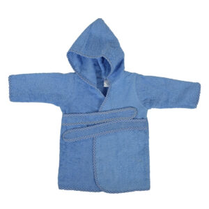 Solid Color Hooded Bathrobe - Sky Blue-0