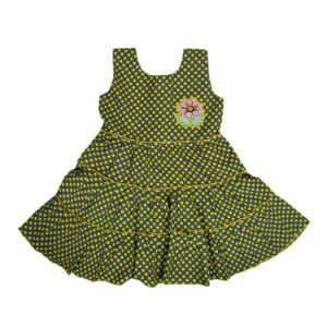 Sleeveless Cotton Frock - Yellow/Grey-0