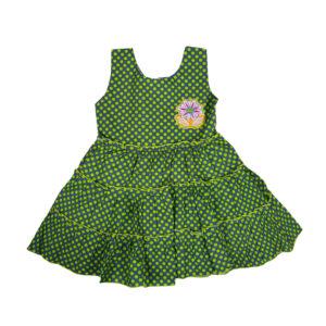 Sleeveless Cotton Frock - Green-0