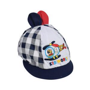 Kid World Baby Flap Cap - Navy/White-0