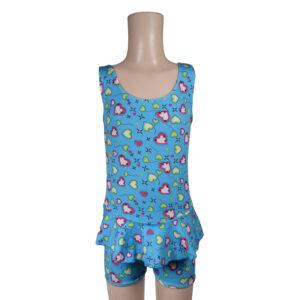 Heart Print Ruffled Style Girls Swimsuit - Sky Blue-0