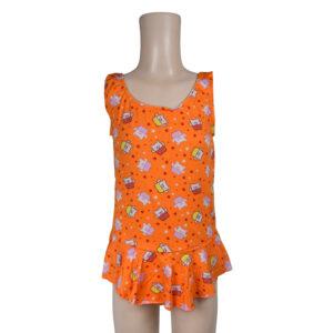 Piggy Print Ruffled Style Girls Swimsuit - Orange-0