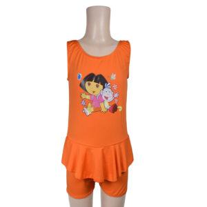 Dora Print Ruffled Style Girls Swimsuit - Orange-0