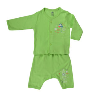 Zero Pack Of T-Shirt With Diaper Pant - Green-0