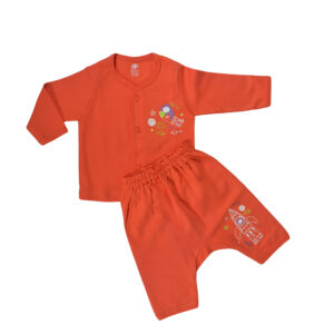 Zero Pack Of T-Shirt With Diaper Pant - Orange-0