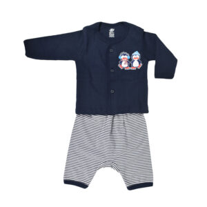 Baby Set Of T-Shirt With Diaper Pant - Navy Blue-0