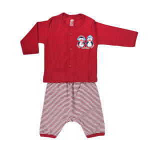 Baby Set Of T-Shirt With Diaper Pant - Red-0
