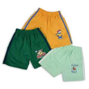 Cucumber Shorts Pack Of 3 - Yellow/Green/Aqua-0