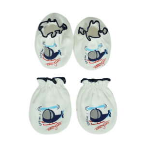 Mami Baby New Born Mittens & Booties Set (0-6M) - Blue/White-0