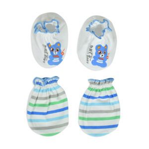 Mami Baby New Born Mittens & Booties Set (0-6M) - Sky Blue/White-0