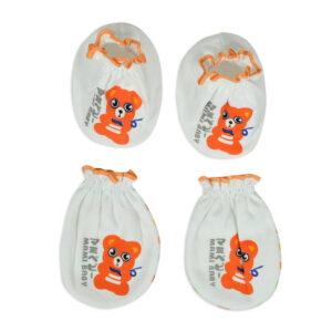 Mami Baby New Born Mittens & Booties Set (0-6M) - Orange-0