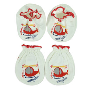 Mami Baby New Born Mittens & Booties Set (0-6M) - Red-0