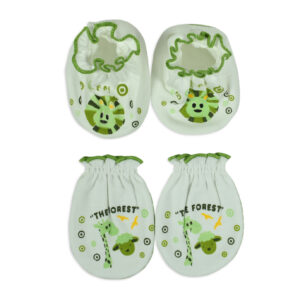 Mami Baby New Born Mittens & Booties Set (0-6M) - Green-0