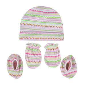 Montaly Baby Caps, Mittens & Booties (0-6M) - Pink-0
